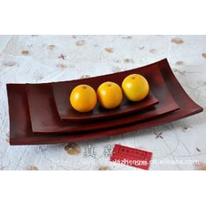 芒果木托盘-长(三件套红色) 泰国茶盘芒果实木水果盘工艺品