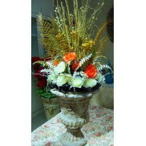 仿真花艺,装饰花艺,银边玫,珠光波斯叶,星光蕾,鹿角叶花盆
