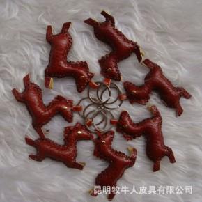 云南民族纯手工挂件 小饰品质 万马奔腾 十二生肖牛皮挂件