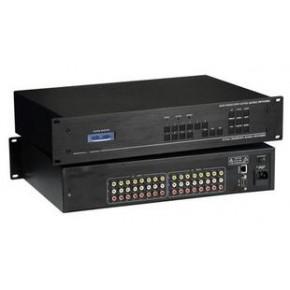 仝丽AV808 AV矩阵 AV接口8进8出 RS232控制 遥控 2U机柜安装