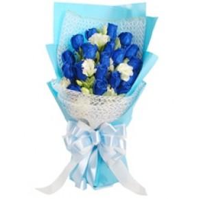 永州花店订花送鲜花19支蓝玫瑰鲜花