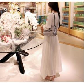 :2012新款韩风雪纺白色长袖连衣裙