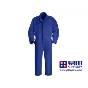 国产-蓝色纯棉连体工作服