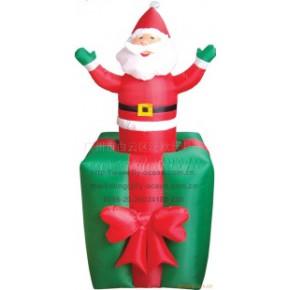 工艺品120公分户外充气电动礼盒圣诞老人装饰品