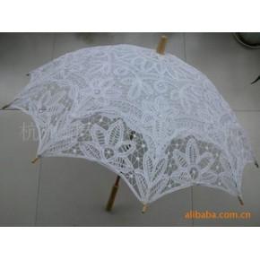 批发供应工艺伞(纯手工制作。木柄,伞面料纯花边)