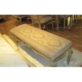 欧式时尚古典风实木床尾凳