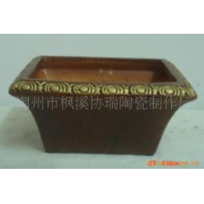陶瓷花盆容器 中温漆彩 几何形