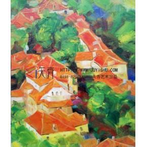 抽象俯视红屋顶装饰油画