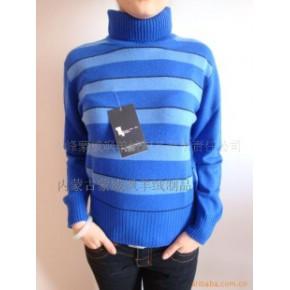 蒙威飒宝石蓝色条纹高领羊绒衫-毛衣-毛衫