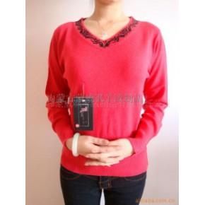 蒙威飒玫瑰红色V领羊绒衫-毛衣-毛衫