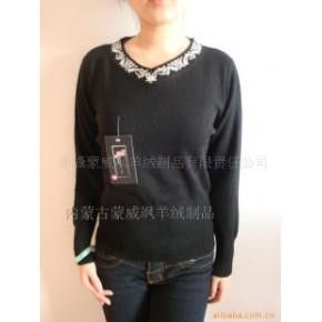 蒙威飒黑色V领羊绒衫-毛衣-毛衫