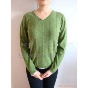 蒙威飒AB绿色V领羊绒衫-毛衣-毛衫-羊绒衫
