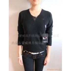 蒙威飒100%山羊绒黑色镂空V领羊绒衫-毛衣-