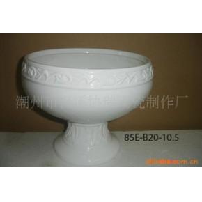 陶瓷花盆容器 中温白釉 几何形