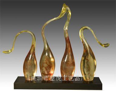 深圳树脂雕塑  天鹅雕塑 透明树脂工艺品 酒店艺术品