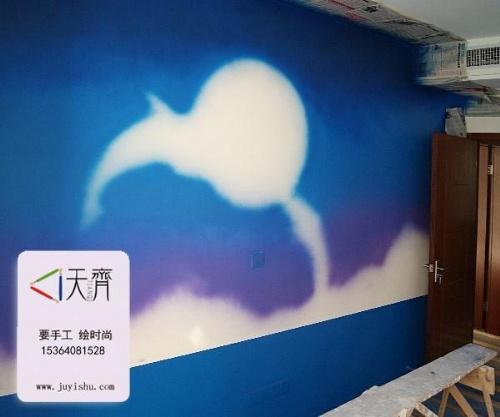 【梦幻海豚手绘墙画,长沙客厅背景手绘墙】