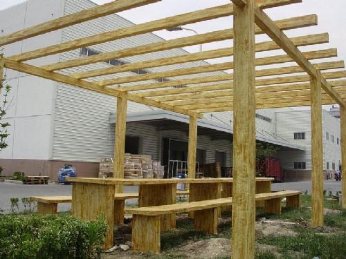 水泥仿木栏杆 水泥仿木花架葡萄架加工