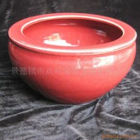 ZD-024 景德镇陶瓷鱼缸养鱼盆睡莲碗莲中国红