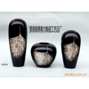 景德镇白黑羽毛陶瓷花瓶,陶瓷摆件工艺品