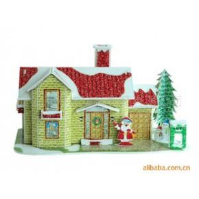 DIY立体拼图储币圣诞屋模型玩具