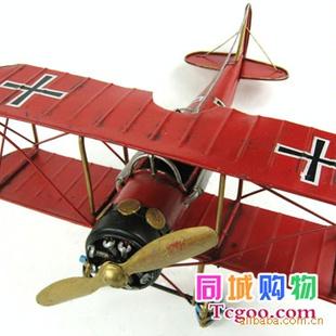 【复古飞机模型gl109 一战龙式红色双翼飞机】