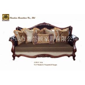 实木雕刻皮加布软体沙发,奥兰顿品牌皮布沙