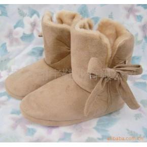 外贸家居地板靴/保暖靴/蝴蝶结短靴 浅棕色(现货)