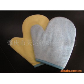 (超细纤维)经编,有指海棉手套