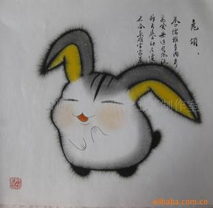 十二生肖属相画 兔子 版画