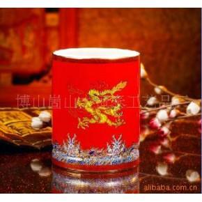红瓷笔筒 陶瓷 商务公关