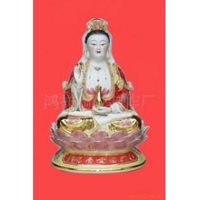 陶瓷佛像文财神24寸观音万年红