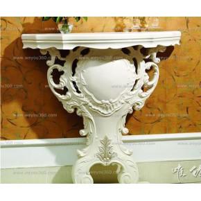 新古典实木白色玄关柜|玄关镜