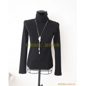 批发供应韩版修身纯棉弹力罗纹立领带扣针织衫