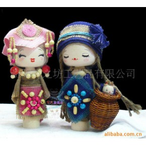 批发手工木制娃娃婚庆礼品K晓青天然麻布艺民族娃娃