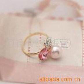 人气时尚镶钻珍珠粉钻韩国明星戒指