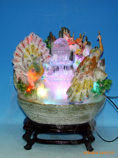 陶瓷流水盆景家居摆设加湿器 陶瓷工艺品摆件 转运风水轮 聚宝盆 -礼