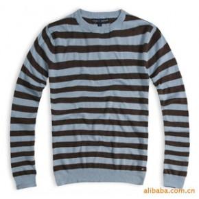 百搭 纯棉 长袖 条纹 针织衫  特价
