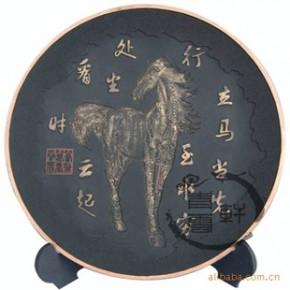 净艺和 炭雕礼品 家居饰品 摆件 圆盘 立马当先