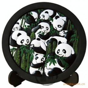 净艺和炭雕礼品 家居饰品 圆盘 熊猫翠竹