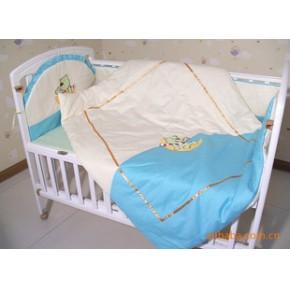 全棉婴幼儿床上用品 高密绣花儿童床品 四季被床围枕头七件套