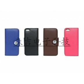 苹果iPhone4s5PU荔枝纹纹理左右翻有卡袋手机保护套