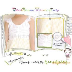 童装 韩国童装 女童纯棉格纱网蕾丝连衣裙