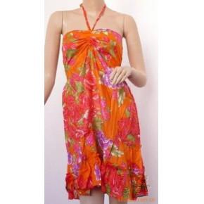 裙子—抽绳花布平领吊带裙 服装 服饰