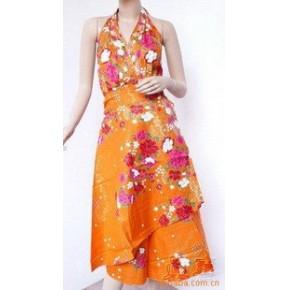 供应 裙子—巴厘花布后包大Y领吊带裙 服装 吊带裙
