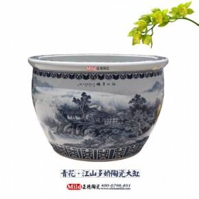 景德镇陶瓷工艺品养鱼大缸