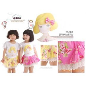 韩国南大门本店韩版童装 女童印花棉蛋糕裙 工厂直供