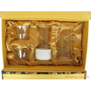 台湾品牌 建窑礼品茶具 玻璃滤茶杯五件组