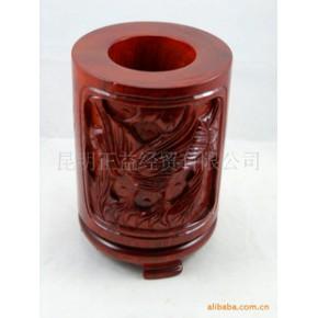 【见图如品】大号雕花红木笔筒 木雕 文具 红花梨木