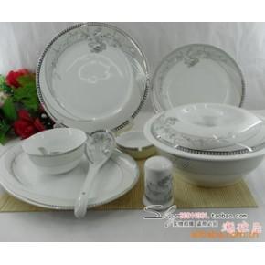 景德镇 56头优质骨瓷餐具 银如意