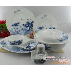 景德镇 56头优质骨瓷餐具釉中彩 江南水乡